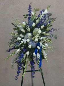 Blue and White Angled Standing Spray