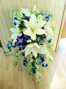 Blue and White Cascading Bridal Bouquet  Cascading Bridal Bouquet