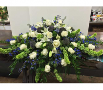 Blue and White Casket Cover casket cover