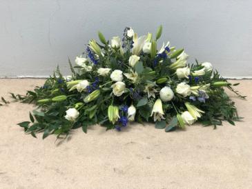 Blue and white casket spray Casket Spray