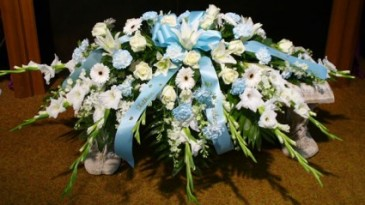 Blue and White  Casket Spray