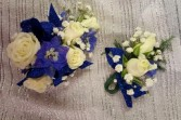 Blue and White Corsage & Boutonniere