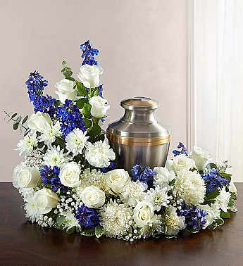Blue and White Cremation Wreath