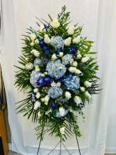 Blue and White Departure Spray