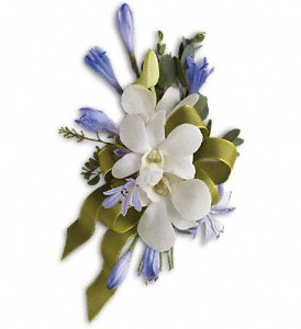 Blue and White Elegance Corsage T201-4a white dendrobium orchids/ aggie blooms