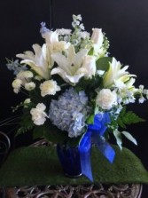 Blue and white floral bouquet