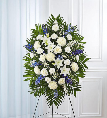 BLUE AND WHITE FUNERAL SPARY BLUE AND WHITE FLOWER SPRAY WITH EASEL