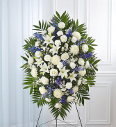 BLUE AND WHITE FUNERAL STANDING SPRAY
