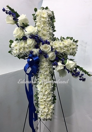 Blue and White Hanging Cross Sympathy