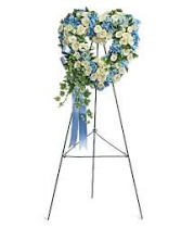 BLUE AND WHITE HEART STANDING FUNERAL PC