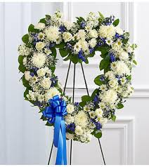 BLUE AND WHITE OPEN HEART 1 FUNERAL PIECE WAS $225.00/NOW 175.00