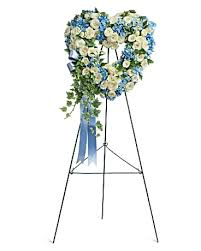 BLUE AND WHITE OPEN HEART-TB 6' STANDING SPRAY ON STAND