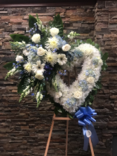 BLUE AND WHITE OPEN HEART W/CLUSTER STANDING FUNERAL PC ON A 6' STAND