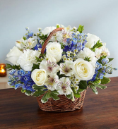 Blue and White Peace,Prayers & Blessings sympathy basket for the home