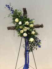 Blue and White Remember me cross  Standing Spray
