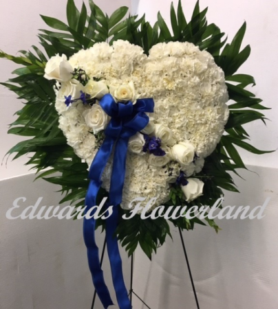 Blue and White Solid Heart Wreath Sympathy
