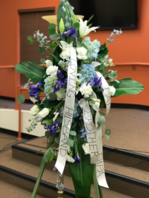 Blue and white Spray Funeral