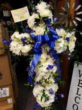 Blue and white standing cross Standing spray