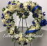 Blue and white Standing open Heart Wreath Sympaty