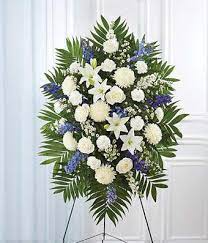 BLUE AND WHITE STANDING SPRAY 3 WAS $199.00/NOW $165.00