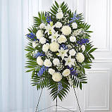 BLUE AND WHITE STANDING SPRAY EASEL DISPLAY