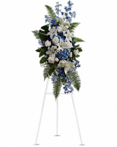 Blue and white standing spray Funeral tribute