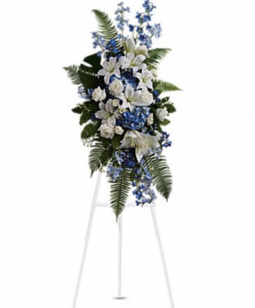 Blue and white  standing spray  Standing spray