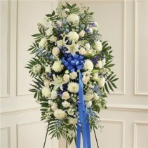 Blue and White Sympathy Spray Funeral Flowers