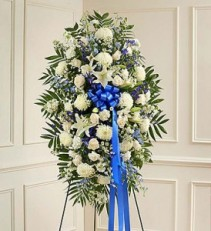 blue and white sympathy spray standing spray