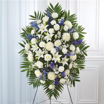 Blue and White Sympathy Standing Spray Item #148713L