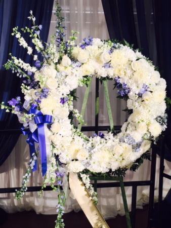 Blue and white sympathy wreath funeral wreath