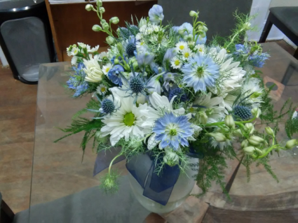 Blue and White Wedding Bouquet