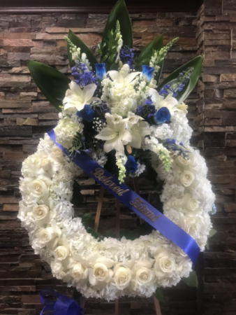 """45"""" BLUE AND WHITE WREATH 2 WITH BANNER STANDING FUNERAL PC"""