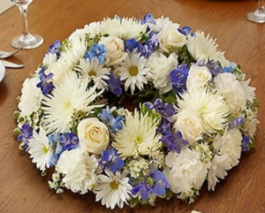 Blue and White Wreath Centerpiece in Croton On Hudson, NY | Cooke's Little Shoppe Of Flowers