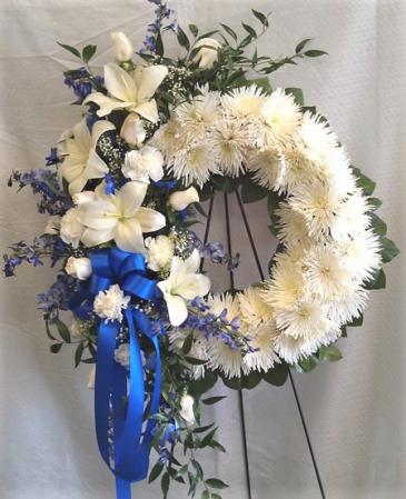 Blue and White Wreath Wreath