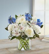 Blue and Whites Wedding Flowers Ceremony