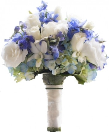 BLUE AND WUITE  BRIDAL BOUQUET