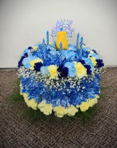 Blue and Yellow Celebration Cake FHF-B13 Fresh Flower Arrangement (Local Delivery Only)