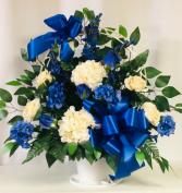 Blue Basket  - Silk Arrangement Funeral Basket