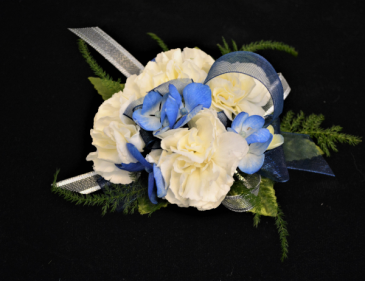BLUE BEAUTY CORSAGE FOR IN STORE PICK UP ONLY WRIST CORSAGE