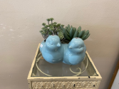 Blue Birds Planter Blue bird planter done with silk succulents.