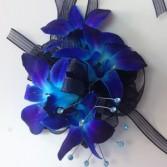 Blue Bombshell Wrist Corsage