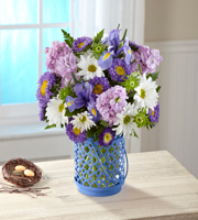Blue Chandelier Flower Arrangement Spring Arrangement