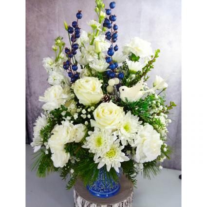 Blue Christmas fresh arrangement