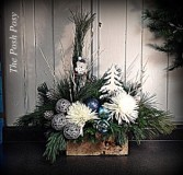Blue Christmas Woodland Owl Arrangement Holiday