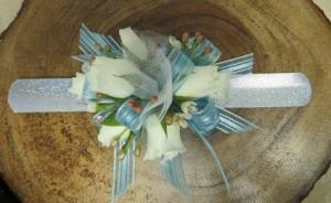 Blue corsage Wrist corsage in blue in Bend, OR | ANA'S ROSE N THORN