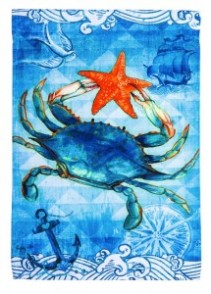 Blue crab & starfish Garden Flag