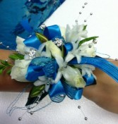 Blue Dance Girl wrist corsage