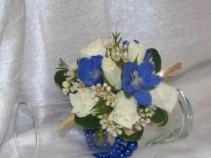 Blue Delphinium and Spray Roses Wrist Corsage