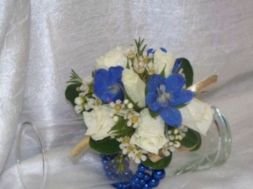 Blue Delphinium and Spray Roses Wrist Corsage